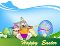 Happy easter rabbit and egg holiday Stock Photo