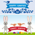 Happy Easter. Rabbit, eggs, flowers, ribbons. Collection element