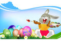 Happy easter rabbit and eggs holiday Royalty Free Stock Photo