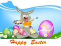 Happy easter rabbit and eggs holiday Royalty Free Stock Images