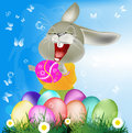 Happy easter rabbit and eggs holiday Stock Image