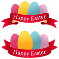 Happy easter ribbons with eggs two banners colourful and a red ribbon eps file available Stock Photos