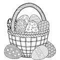 Happy Easter. Round frame of Black and White Doodle Easter Eggs and crocuses Coloring book for adults for relax and meditation. Ve