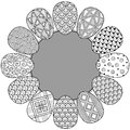 Happy easter. Round Vignette of Black and White Doodle Easter Eggs. Coloring book for adults for relax and meditation.