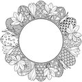 Happy easter. Round Vignette of Black and White Doodle Easter Eggs and Crocuses. Coloring book for adults for relax and meditation