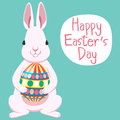 Happy easter s day rabbit white holding big egg Royalty Free Stock Photo