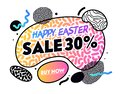 Happy Easter Sale Banner with Abstract Gradient Shapes, Elements and Lines on White Background. Spring Holiday Festive Shopping