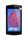 Happy Easter on the screen of smartphone
