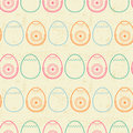 Happy easter Seamless pattern with outlined colored eggs