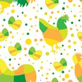Happy Easter Seamless Pattern with Simple Eggs and Chicken