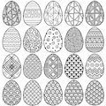 Happy easter. Set of Black and white Doodle Easter eggs. Coloring book for adults for relaxation and meditation. Vector isolated E