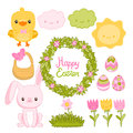Happy Easter set with cartoon cute bunny, chicken Royalty Free Stock Images