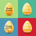 Happy Easter set with colored eggs. Vector realistic illustration