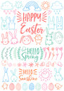 Vector Happy Easter border with outline easter rabbit, egg and basket isolated on white background. Cartoon elements with bunny.