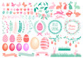 Happy Easter set, vector Royalty Free Stock Photo