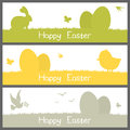 Happy easter silhouettes banners set a collection of three horizontal with of eggs and animals bunny rabbit butterfly chick and Royalty Free Stock Images