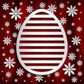 Happy easter simple shape of egg on red background and flowers Royalty Free Stock Images