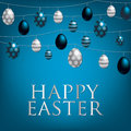Happy easter string of eggs card in format Royalty Free Stock Photos