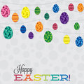 Happy easter string of retro eggs in format Royalty Free Stock Photography