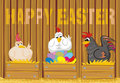 Happy easter - suprised poultry and easter eggs Royalty Free Stock Photography