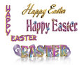 Happy Easter text 3D set of 4 Royalty Free Stock Image