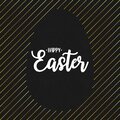 Happy Easter text lettering with gold lines and silhouette of blank paschal egg at black grunge background. Vector
