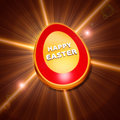 Happy easter text over d shining golden egg rays light over glittering background holiday concept Stock Photos