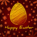Happy easter text striped yellow egg vintage background over brown old paper daisy flowers Royalty Free Stock Image