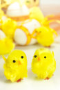 Happy easter toy yellow chicks Royalty Free Stock Photos