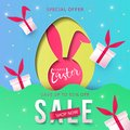 Happy Easter trendy Paper art Sale background with Egg Hunt, rabbit ears and gift boxes.