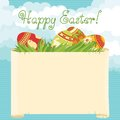 Happy easter vector background of eggs and copy space Stock Images