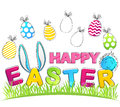 Happy Easter. Vector Greeting Card with rabbit ears