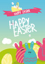 Happy easter vector with individual eggs Royalty Free Stock Images
