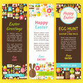 Happy Easter Vector Party Invitation Flyer Set