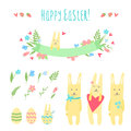 Happy Easter vector set with bunnies