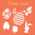 Happy easter vector set with silhouettes of chickens, rabbit, flower, leaf and eggs