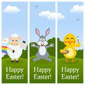Happy easter vertical banners a collection of three or spring with a cute lamb with a flower in the mouth a bunny rabbit greeting Royalty Free Stock Photos