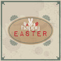 Happy easter vintage typographic background retro label with calligraphic elements Stock Image