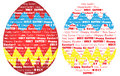Happy easter word cloud as painted egg cor clouds of shaped hand in red blue yellow saying and holy Stock Image