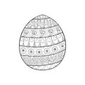 Happy Easter zentangle egg decorated with ornament, design doodl
