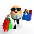 Happy egg as business man with shopping bags d rendered illustration of Stock Photography