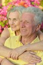 Happy elder couple resting on pink flowers background Stock Photo