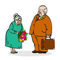 Happy elderly couple old man with a bouquet of flowers elderly men gives lady funny older and woman Royalty Free Stock Photography