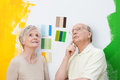 Happy elderly couple renovating their home standing looking at colour swatches on a wall trying to make a decision Royalty Free Stock Photos