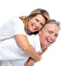 Happy elderly couple senior in love isolated over white background Royalty Free Stock Image