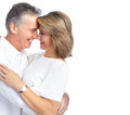 Happy elderly couple senior in love isolated over white background Royalty Free Stock Photo