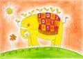Happy Elephant And Birds, Chil...
