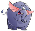 A happy elephant looking at camera and waving happily its ears and tail Royalty Free Stock Photo