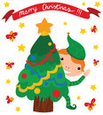 Happy elf with christmas tree looking out of the merry banner Stock Image