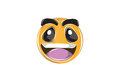 Happy Emoticon with big smile and smiling eyes  on white for Mobile and Web. Royalty Free Stock Photo